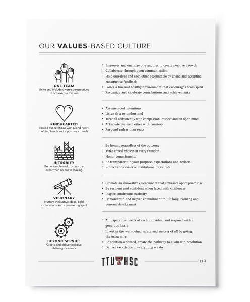 Preview of our values one pager