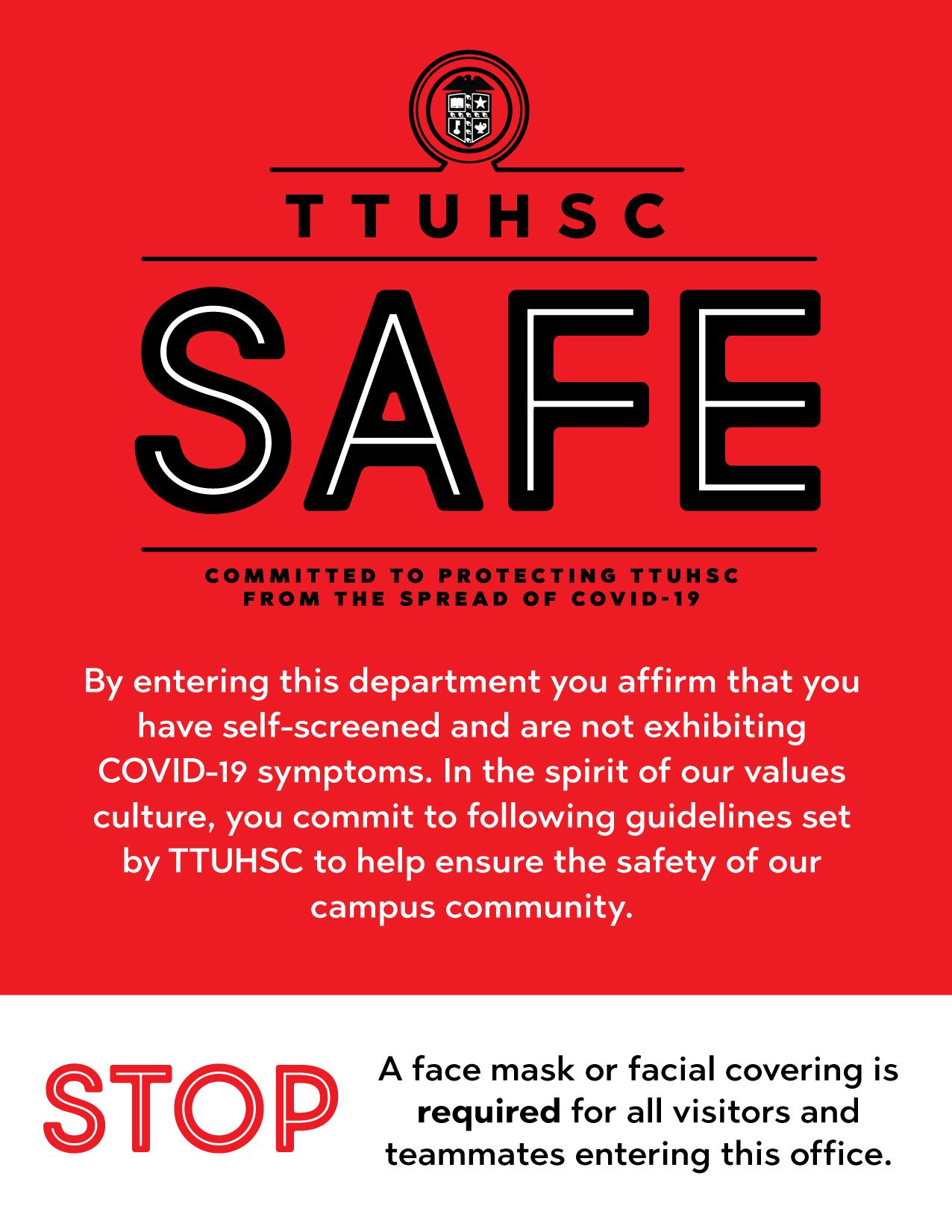 TTUHSC Safe Final Door Sign English